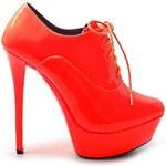 BELLE WOMEN Červené lesklé kotníčkové boty