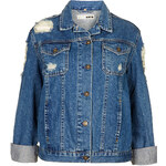 Topshop MOTO Ripped Denim Jacket