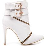 SERGIO TODZI Elegantní bílé kotníčkové boty s přezkami