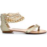 SERGIO TODZI Pohodlné zlaté sandály s řetízky