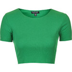 Topshop Wide Cotton Ribbed Crop Top