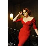 Pinup Couture 50s Monica Dress in Red Matte Jersey Knit from Laura Byrnes Black Label