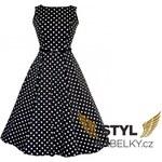 Lady Vintage RETRO DÁMSKÉ ŠATY Hepburn Black & White Polka Dot Velikost: 36(UK8)