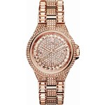 Michael Kors Mini Rose Golden Stainless Steel Camille Three-Hand Glitz Watch