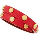 Tory Burch Logo-Studded Leather Wrap Bracelet