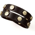 Tory Burch Logo-Studded Leather Wrap Bracelet