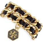 Tory Burch Woven Leather Chain Wrap Bracelet