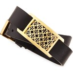 Tory Burch Kinsley Double-Wrap Leather Bracelet