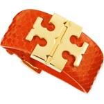 Tory Burch Wide Snake-Embossed T-Hinged Bracelet
