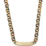 Michael Kors Curb-Chain Plaque Necklace