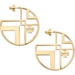 Tory Burch Chevron Cutout Hoop Earrings with Logo