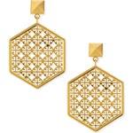 Tory Burch Golden Perforated Logo Hexagon Drop Earrings