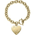 Michael Kors Golden Etched MK Heart Bracelet