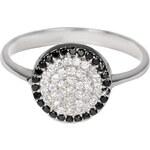 Pattic Stříbrný prsten s čirými a černými krystaly ITS3325001SA 55 mm