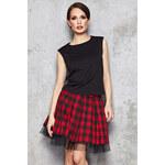 Červeno-černá károvaná sukně M035 XL