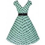 Lindy Bop Šaty Lindy Bop mentolově zelené černý puntík 'Mary Ellen'
