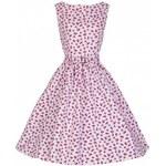 Lindy Bop Šaty Lindy Bop vintage růžové s červeným motivem