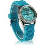 LS Fashion Tyrkysové hodinky s kamínky Fashion Only W002 tyrkysová