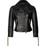 Moschino Leather Biker Jacket with Rose Collar and Chainlink Trim