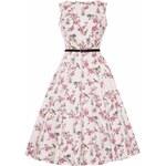 Lady Vintage RETRO DÁMSKÉ ŠATY Audrey Cream Birdcage Velikost: 38(UK10)
