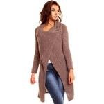 Dlouhý dámský pletený svetr / pončo Lacomy - hnědý