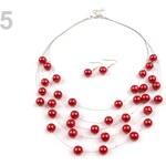 Stoklasa Náhrdelník a náušnice s perlami, sada červená