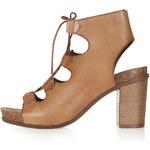 Topshop NATTER Ghillie Footbed Heeled Sandals