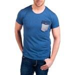 Pánské modré tričko REROCK s kapsičkou