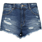 Tally Weijl Blue High Waist Ripped Denim Shorts