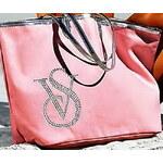 Victoria´s Secret Růžová plážová taška Victoria's Secret se stříbrným lemem
