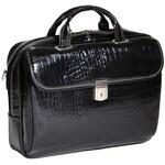 McKlein Siamod Ignoto - luxusní černá kožená kabelka na notebook