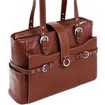 McKlein Siamod Fratti - luxusní hnědá (cognac) kožená kabelka na notebook