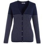 Modrý kašmírový svetr s bílými linkami, propínací s výstřihem do V, N.PEAL