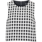Topshop Textured Gingham Shell Top