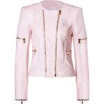 Balmain Leather Bold Shoulder Quilted Jacket