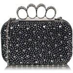 LS Fashion Luxusní černo-stříbrné kamínkové psaníčko s boxerem LSE00119 černá