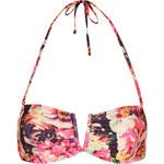 Topshop Peonie Floral V Trim Bandeau Bikini Top