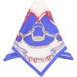 Tmavě modrý hedvábný šátek s potiskem Fraas