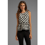 Dolce Vita Lysia Silky Stripes Top in Black