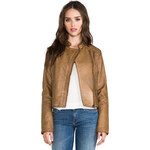 BB Dakota Stanley Garment Dye Faux Leather Moto Jacket in Brown
