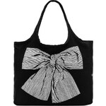 Lauren Moshi Taylor Stripe Bow Canvas Tote in Black