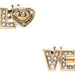 Juicy Couture Pave Love Stud Earring in Metallic Gold