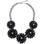 Šedo-černý náhrdelník s květy Pieces Jirina