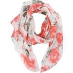 Červeno-krémový květovaný šátek Pieces Jelles