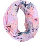 Fialový květovaný dutý šátek Pieces Jolia