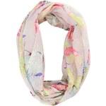 Béžový dutý šátek s barevnými květy Pieces Jolia