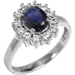 Silvego Luxusní stříbrný prsten s polodrahokamem iolit 57 mm