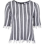 Topshop Striped Frayed Hem Top