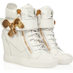 Giuseppe Zanotti Wedge Sneakers with Eagle Detail in White
