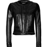 Roberto Cavalli Cropped Leather Jacket with Lace Inset